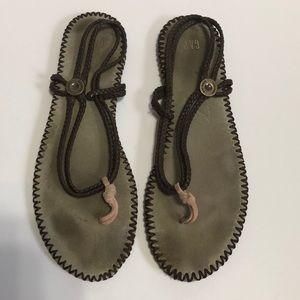 GAP Rope Slingback Leather Flat Sandals